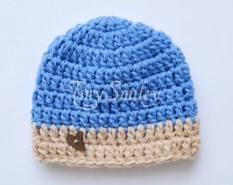 Baby Boy Hat, Button Baby Hat, Newborn Hat, Blue Boy Hat, Baby Boy, Blue Hat, Crochet Boy Hat, Hospital Hat, Baby Boy, Blue, Hat