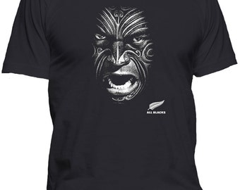 New Zealand All Blacks Rugby Face T Shirt sml, med, lrg, xl, 2x, 3x, 4x, 5x