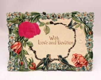 Victorian Die Cut Calling Card Birds Satin Rose Glitter Valentine