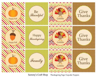 Printable Thanksgiving Tags, Thanksgiving Cupcake Toppers, DIY Thanksgiving Decor,Turkey Tags Thanksgiving Table Decor