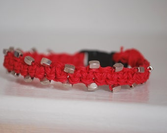 Bright Red Hemp Cat Collar with Silver Beads