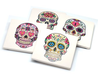 Set Of 4 Stone Drink Coasters With Sugar Skulls Day Of The Dead Design, Wine, Coffee, Drinks, Party, Housewarming Gift, Mother's Day,