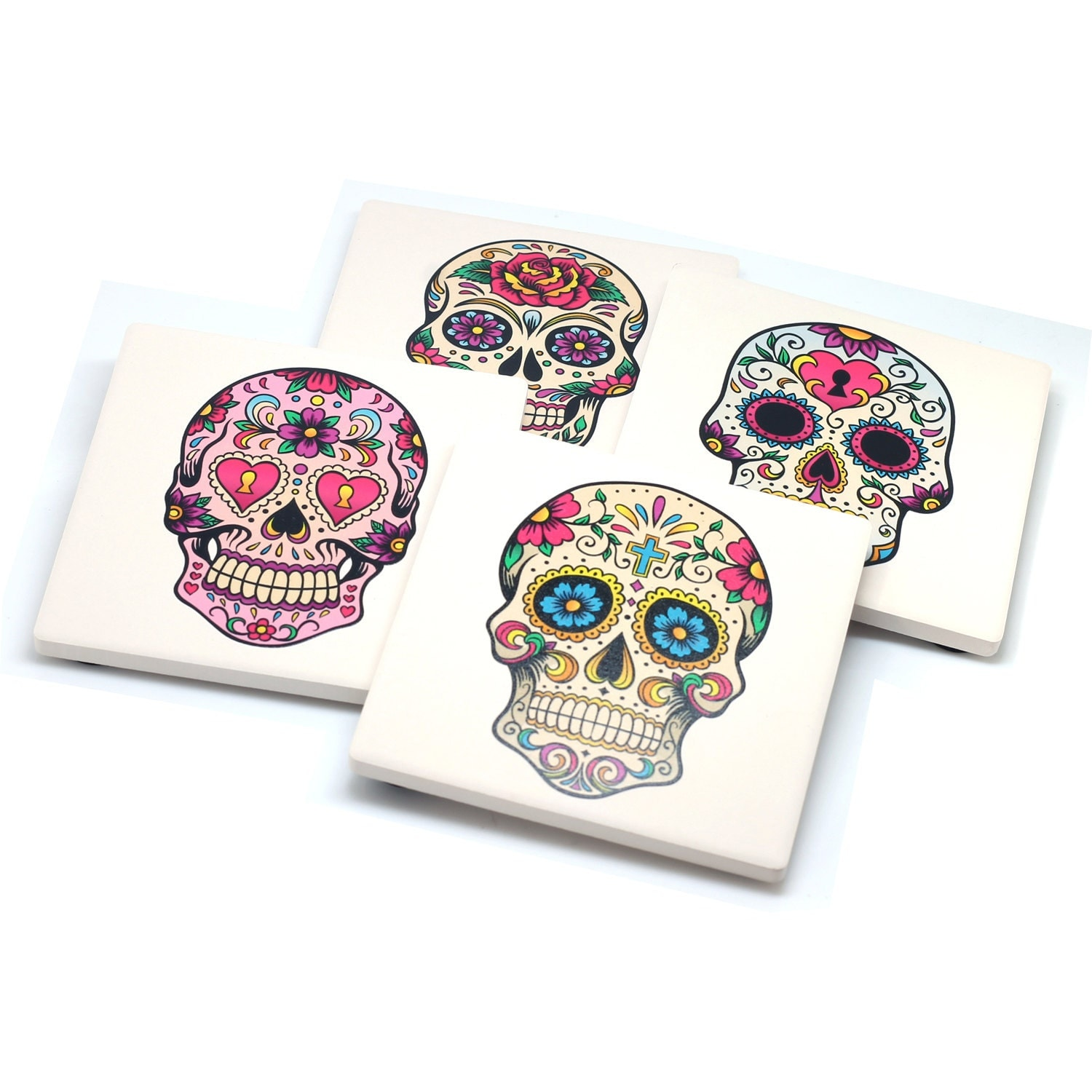 Set of 4 stone drink coasters with sugar skulls day of the - Coaster sets for drinks ...
