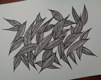 """Abstract Art Print  of Original Line Drawing , Size 9""""X12"""""""