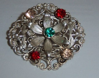 WBS Sterling Silver Brooch. C Clasp Flower Brooch With Colorful Stones.  Ornate Signed Silver Jewelry.