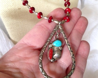 Ladies Southwestern Silver and red Beaded Necklace with Turquoise and Coral on Pendant