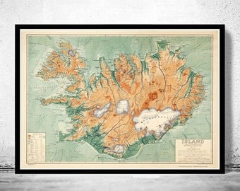 Old Map of Iceland islandia 1928 Vintage map