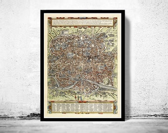 Old Map of Rome Roma, Italy 1580 Antique Vintage Italy