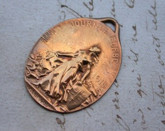 French antique  1916S medal military medals antique military bronze cross WWI war  Serbe  France jewelry  woman repousse bronze