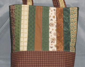 Earth tones Green, Brown and Cream Colored Tote Bag