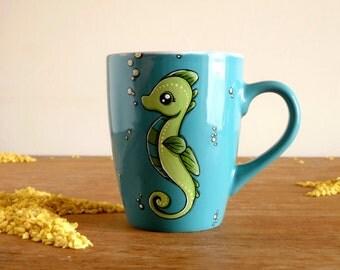Cute Mug, Seahorse Mug,  Teal mug with seahorse, Christmas gift, Fish mug, Animal Mug, Cute Coffee Mug, Ocean mug, Beach mug, Beach lover,