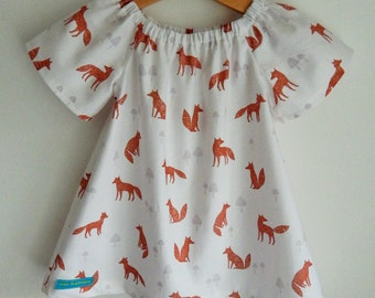 Wildwood Fox Baby/Toddler/Girls Flutter Dress Sizes 0-6yrs - Made to Order