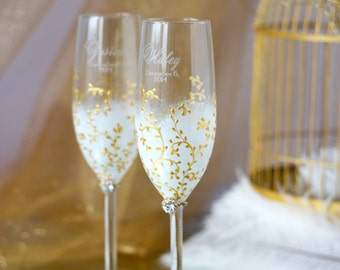 IVORY & GOLD  Wedding Champagne glasses/  Handmade painted toasting flutes/ weddings Set of 2  /G3/4/13/7-0001
