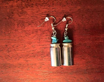 Gorgeous Silver Bullet Shell Casing Earrings with Turquoise Beading!