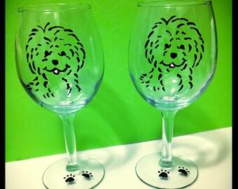 Happy Puppy Dog Wine Glasses