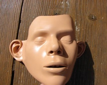Vintage Rubber Mask  / Ambu Resusci Manikin Mannequin CPR Training Replacement Faces Adult Denmark / rubber face / Funny mask face