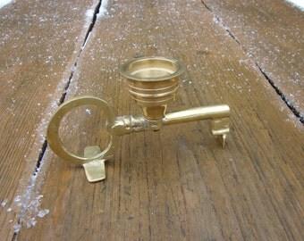 Vintage Handmaid Solid brass heavy Candle Holder / housewares / Rustic Kitchen Decor / Solid BRASS Candlestick key / Brass interior decor B3