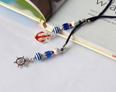Sophisticated Summer Book Thong Bookmark with anchor and rudder silver charm Blue Red Beaded Book Thong, Teacher appreciation gift