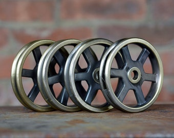 Pulley Wheels - Set of 4 - Antique Brass - Iron Pulley - Metal Pulley - Pulley Light Parts - Best Quality - Barn Door Hardware