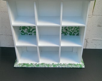 Painted White Wood Cubby Compartment Hutch With Ocean Tumbled White and Green Sea Glass with Shells.