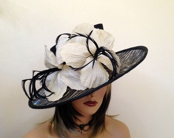 Kentucky Derby  hat.Royal Ascot,Del Mar,Formal hat.Animal print  black hat for Weddings, church, races, parties and other special occassions