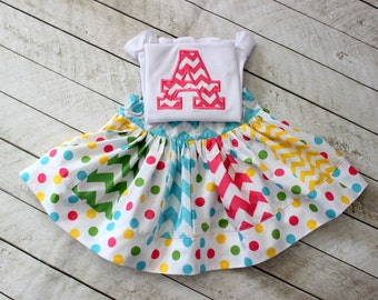 polka dot Birthday outfit Birthday set skirt set chevron polka dot clothing chevron skirt letter number applique shirt  toddler birthday