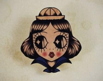 Sailor Girl Traditional Tattoo Brooch