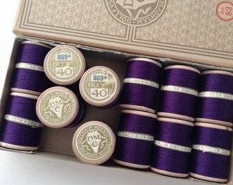 Original box of ALSA DMC cottons, 12 'Bobines',  Colour 889 Violet - Violette, Made in France, Dollfus, Mieg & Cie