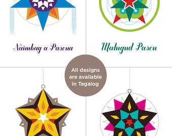 CHOOSE 4 / Filipino Parol Christmas Card  — Select from Tagalog, Cebuano, Waray, Ilokano, Pampangan