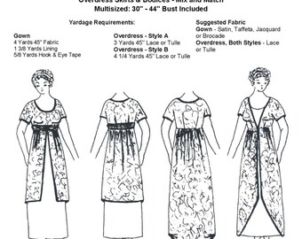 WN409 - 1910 - 1915 Gown & Overdress Sewing Pattern by Wingeo