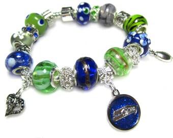 Seattle Seahawks Licensed Charm on a European Style Bracelet