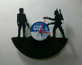 Boba Fett and Han Solo Star Wars Record Clock