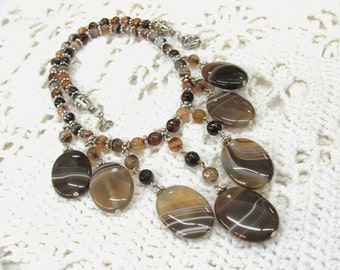 "Natural Agate Bib Necklace gemstone statement jewelryBrown Gray Cleopatra collier 18"" cascade graduated necklace unique Christmas gift OOAK"