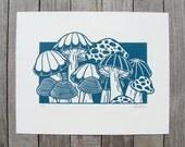 The Mushroom Patch Linocut Relief Printmaking Hand Printed Handmade in Teal