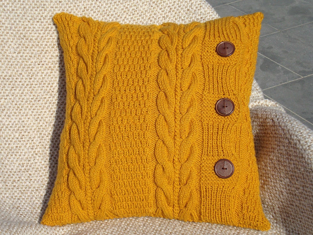 Knitting Pillows : Mustard knit pillow chunky couch pillows throw