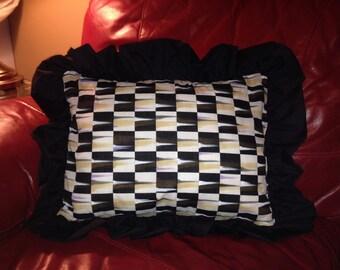 Black and White Checks Pillow. 16x20