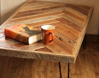 Barn wood coffee table – Herringbone table – Hairpin legs – Chevron design accents – Reclaimed wood furniture – Rustic barnwood living room