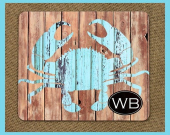 Personalized Rustic Crab Trivet Gifts for Hostess Birthday Gifts for Mom Housewarming Gift Hardboard Monogrammed Kitchen Hot Pad Beach House