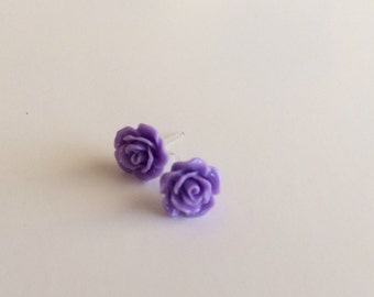 Lavender Resin Rose Earrings-- Hypoallergenic Rose Earrings