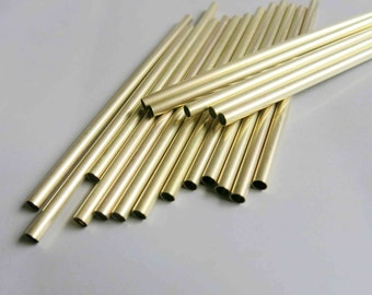 50pcs Cut Raw Brass Tube Cylinder Shape Beads 100mm x 4mm - F190