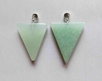 Polished Aventurine Quartz Triangle Pendant - B1199