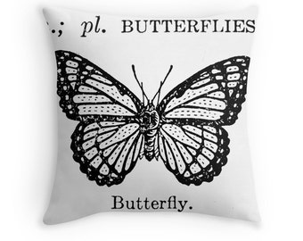 Vintage Pillow Cover Vintage Dictionary Illustration Butterfly Science Black White Home Decor