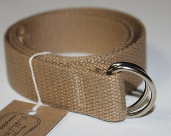 Teen/Adult Khaki Cotton D-Ring Belt