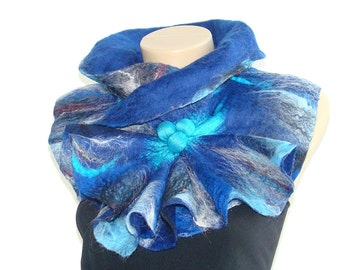 Wool Scarf Felted Scarf  Dark blue & bright blue shibori scarf  Winter Accessories Chunky scarf OOAK