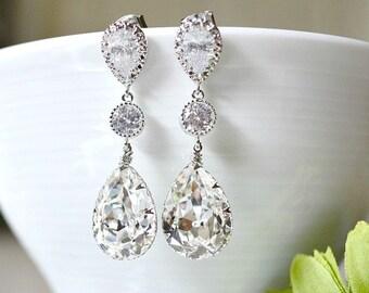 Bridal Drop Earrings, Cubic Zirconia Ear Posts With Swarovski Crystal Teardrop Earrings, Bridal Dangle Earrings, Bridesmaid Earrings