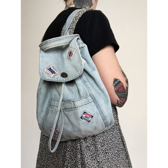 Vintage 80's Denim Backpack Purse Slouchy Denim Patch