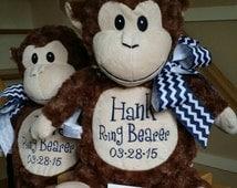 RING BEARER GIFT Personalized Monkey,  Stuffed Monkey, Boys gifts, Baby shower, nursery room, Birthday gifts, Monogrammed gifts, wedding fav