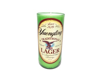 Yuengling repurposed beer bottle Soy Candle. 8-9 oz