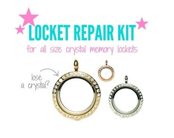 Locket Repair Kit to Replace Lost Crystals from Your Glass Charm Locket, Memory Locket Crystal Replacement Kit Includes Crystals & Glue