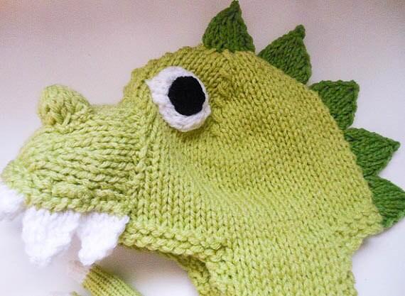 Knitting Pattern Animal Hat Dinosaur Hat Dragon Hat ...